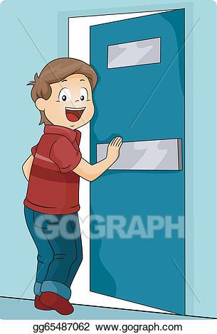 Vector illustration kid pushing. Door clipart boy