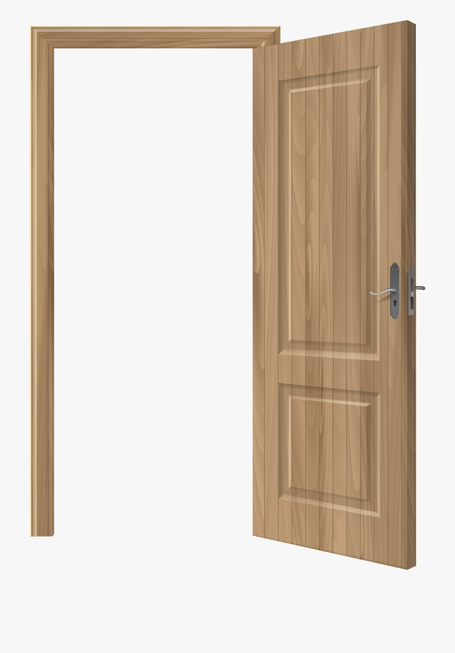 Door clipart opened door. Open wooden png clip