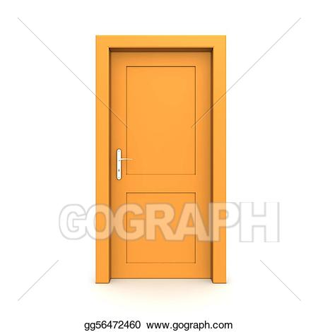 Stock illustrations closed single. Door clipart orange door
