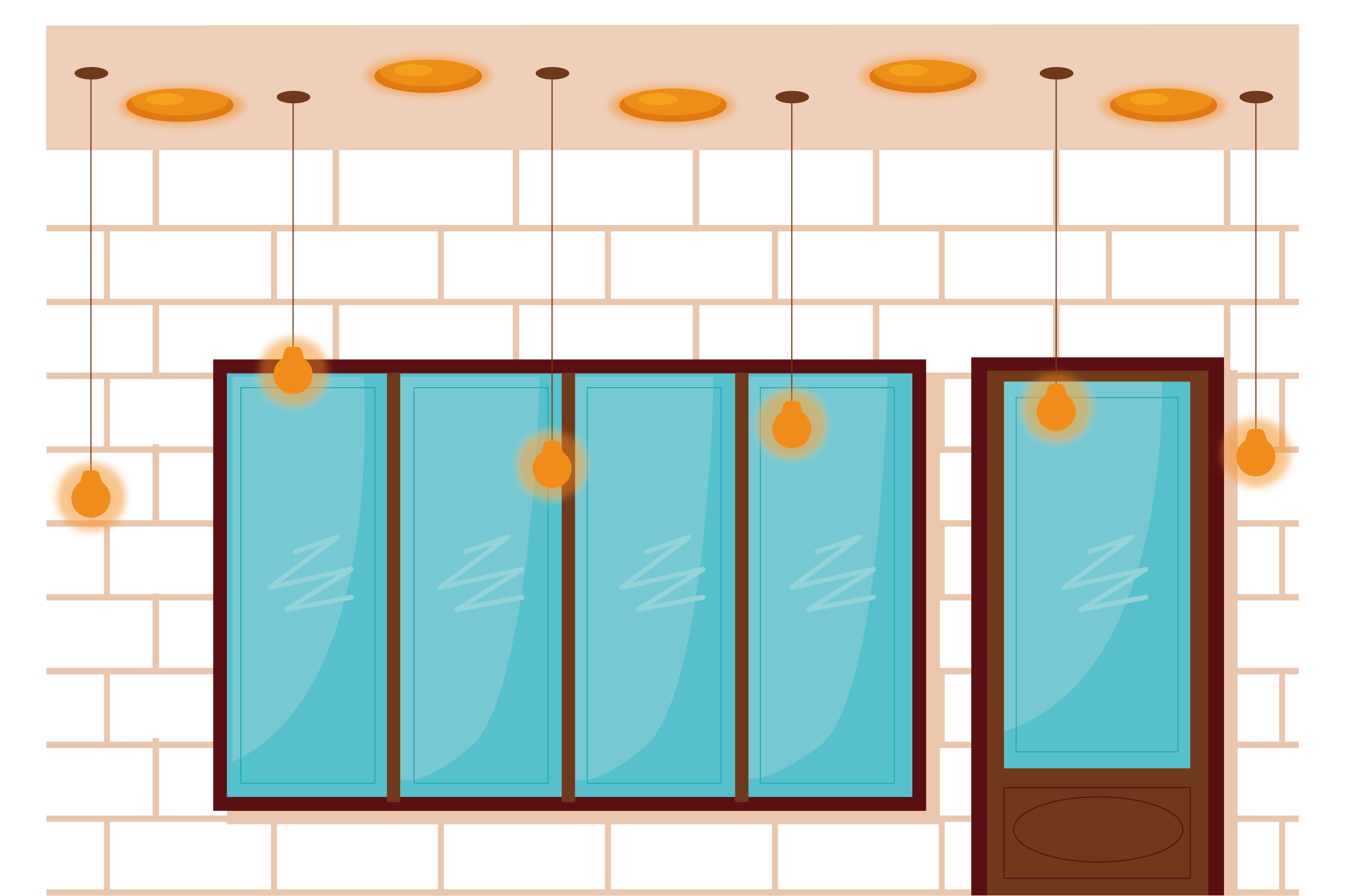Glass wall poster cartoon. Door clipart orange door