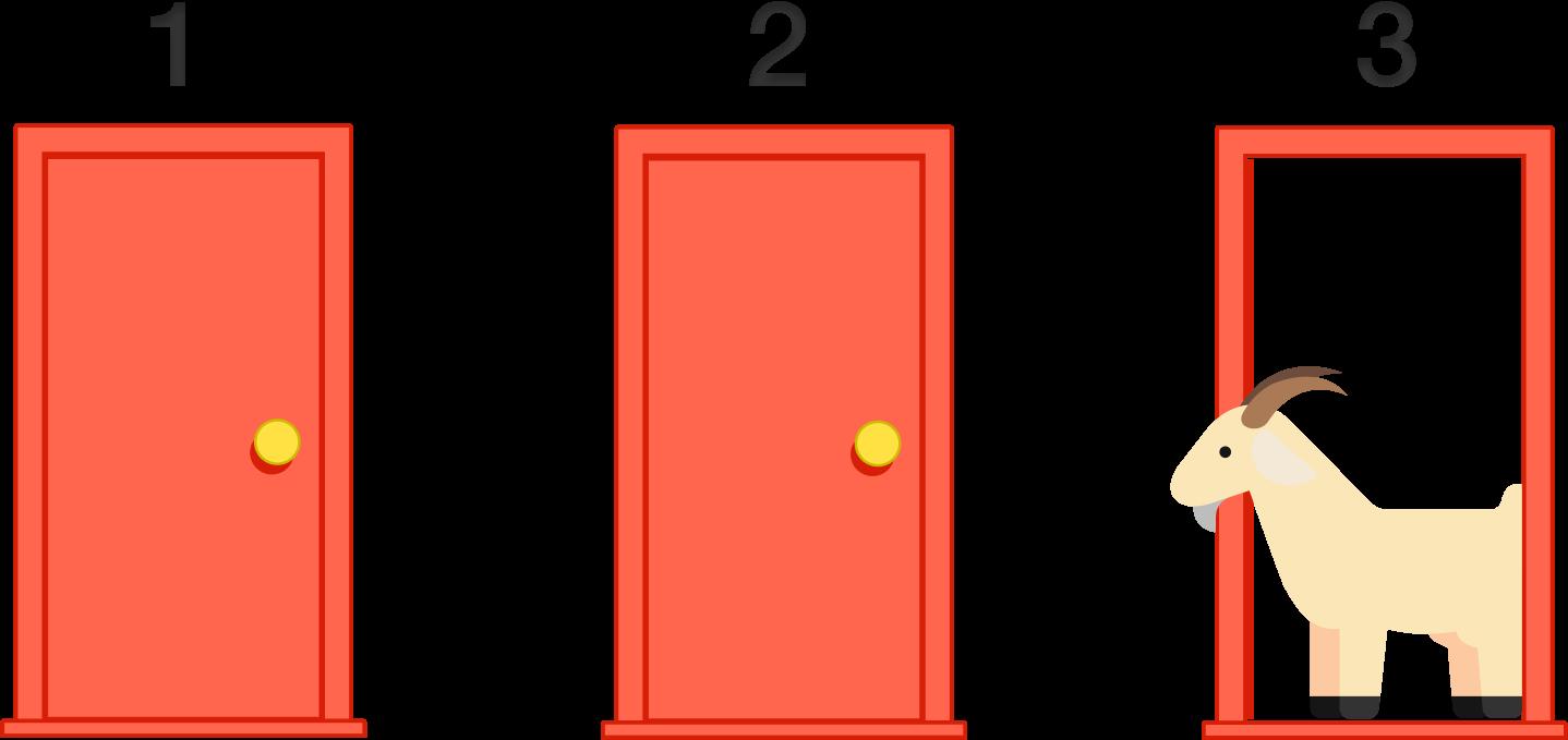 Clipart door orange door. Monty hall problem brilliant