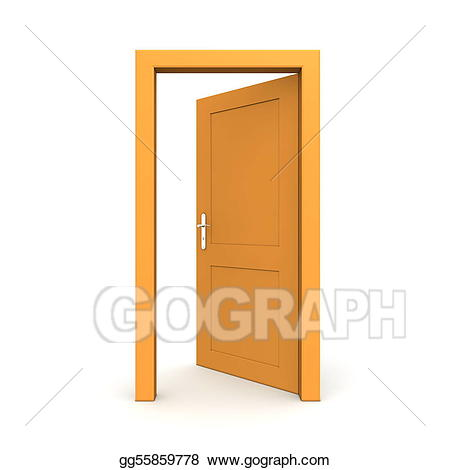 Stock illustration open single. Door clipart orange door