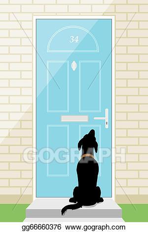 Vector art dog drawing. Door clipart outside