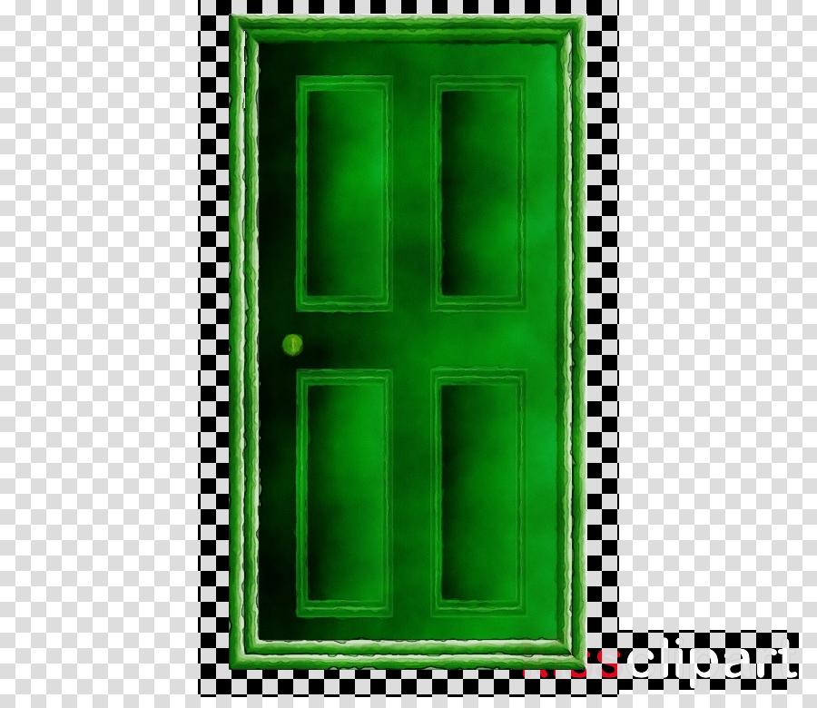 Green home window . Door clipart rectangle