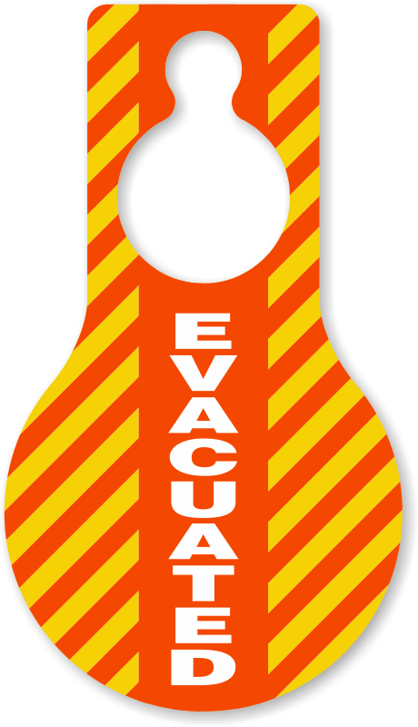 Evacuated door hangers blank. Drill clipart evacuation area