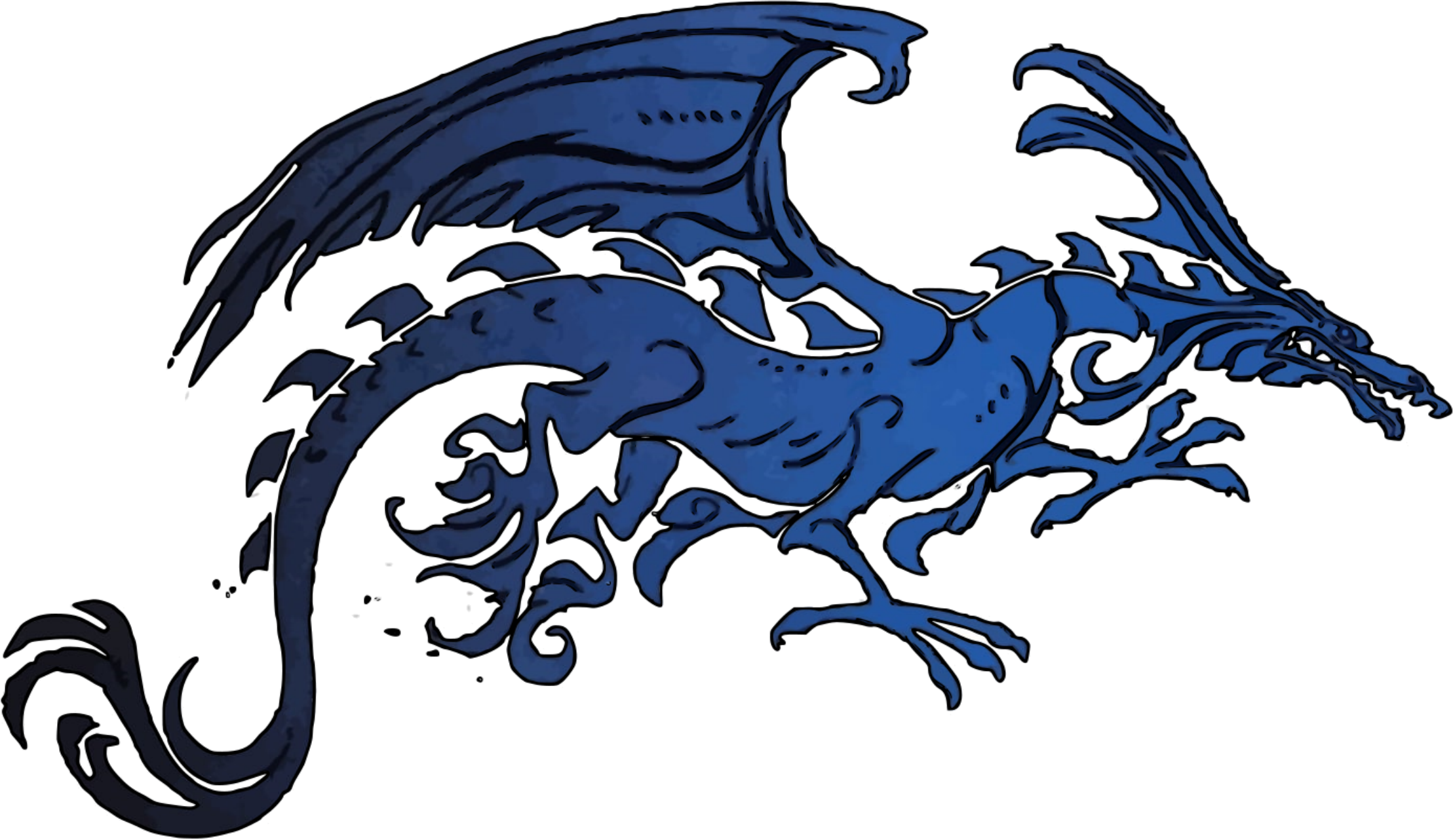 Dragon clipart fierce dragon. Black and blue tribal