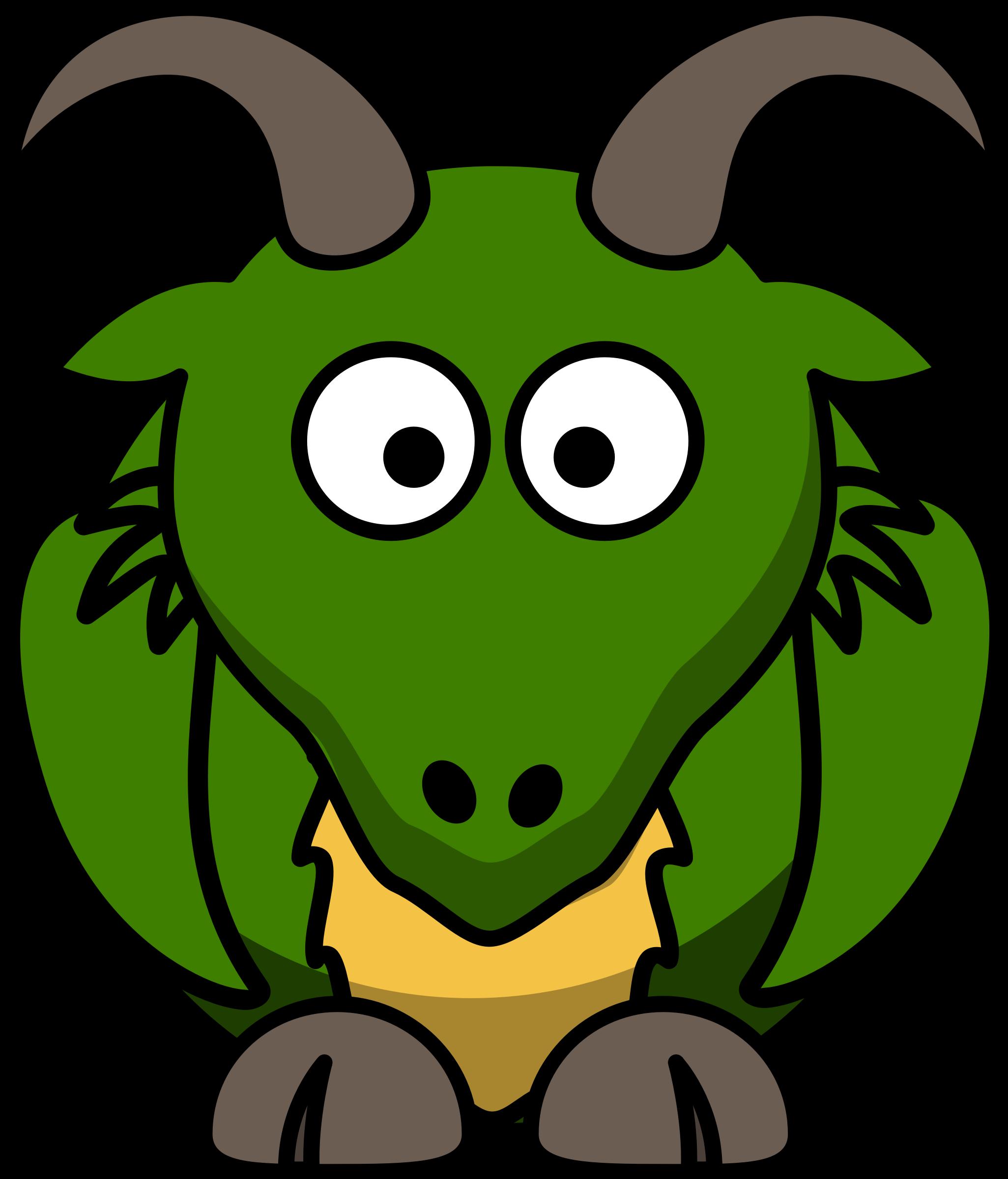 Cartoon dragon big image. Goat clipart toon