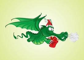Free graphicss and vector. Dragon clipart christmas