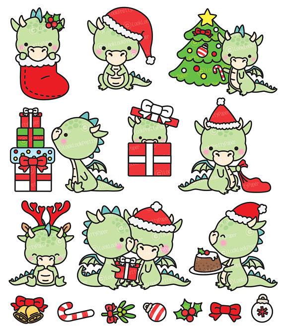 Dragon clipart christmas. Premium vector kawaii dragons