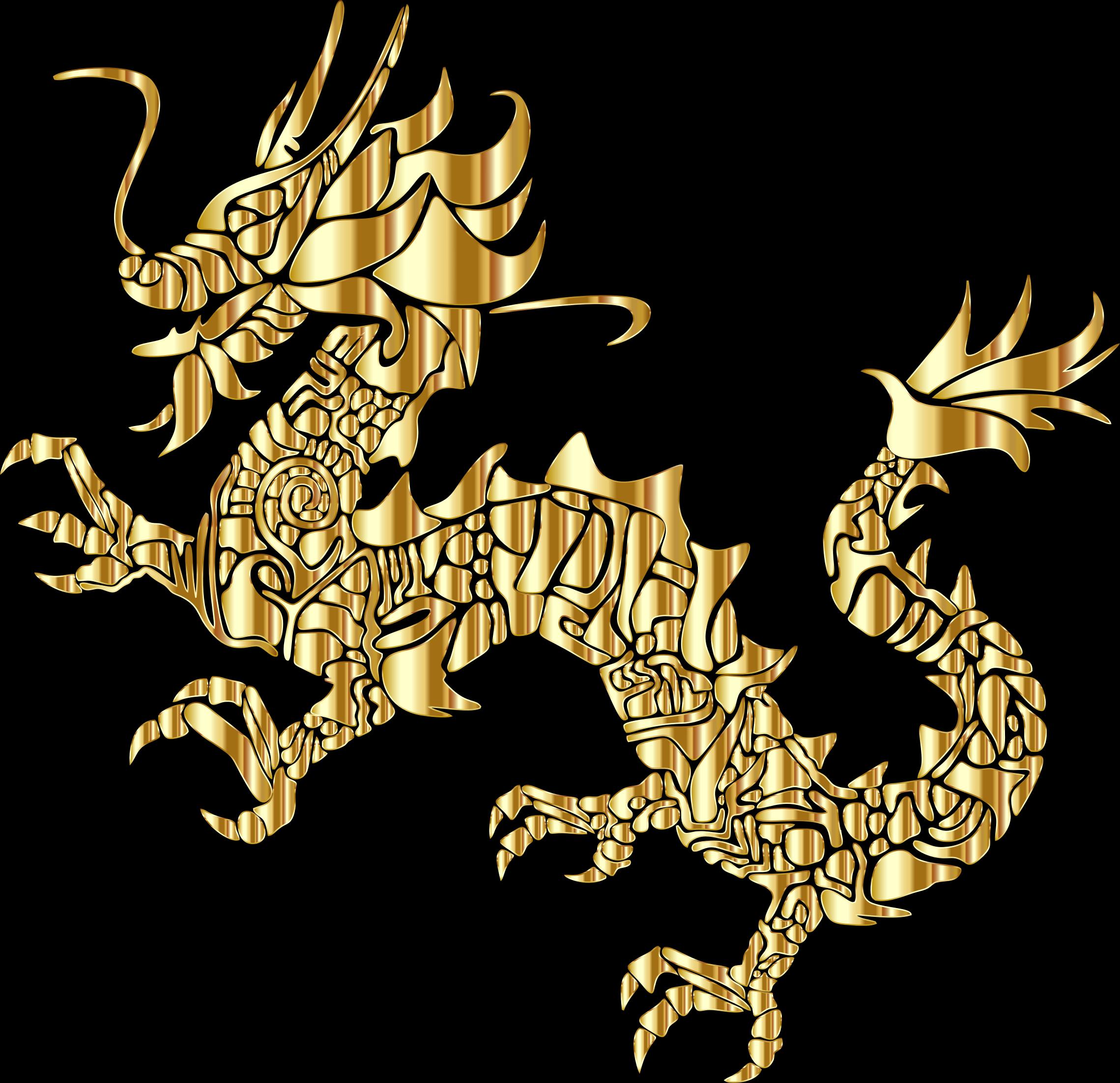 Gold tribal asian silhouette. Dragon clipart golden dragon