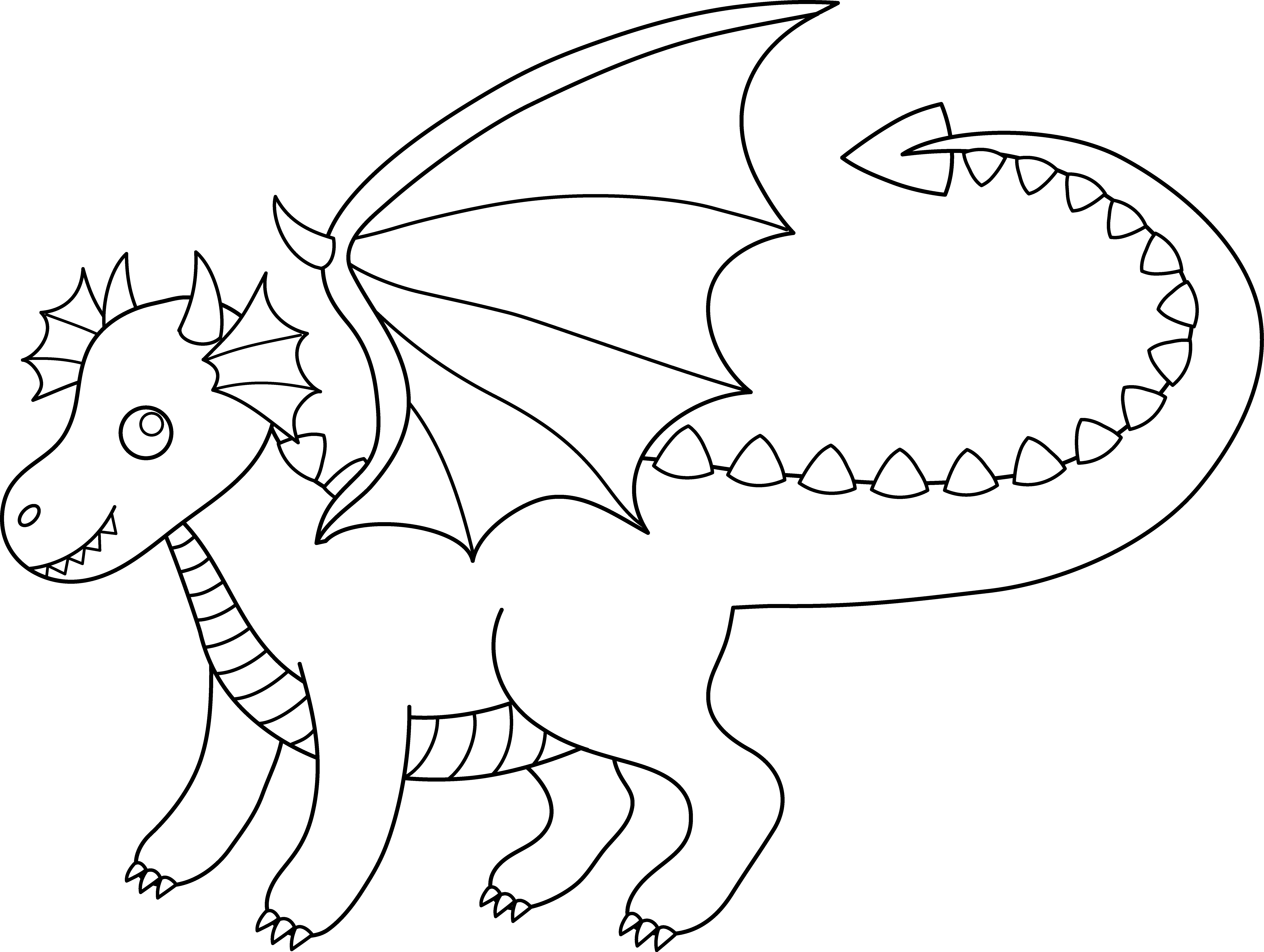 Cute colorable dragon free. Excavator clipart black and white
