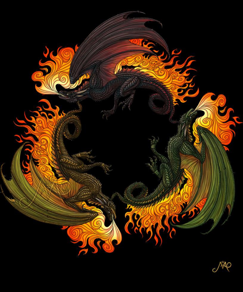 Three dragons by sunima. Clipart dragon drogon