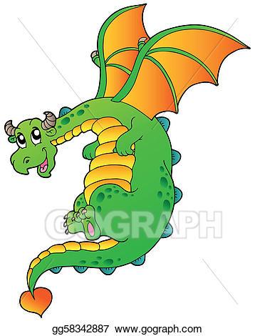 Eps vector flying stock. Dragon clipart fairy tale dragon