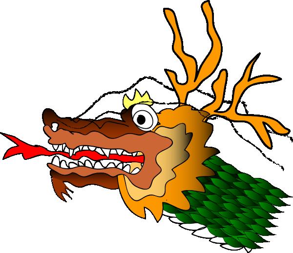 Cartoon chinese clip art. Clipart dragon orange