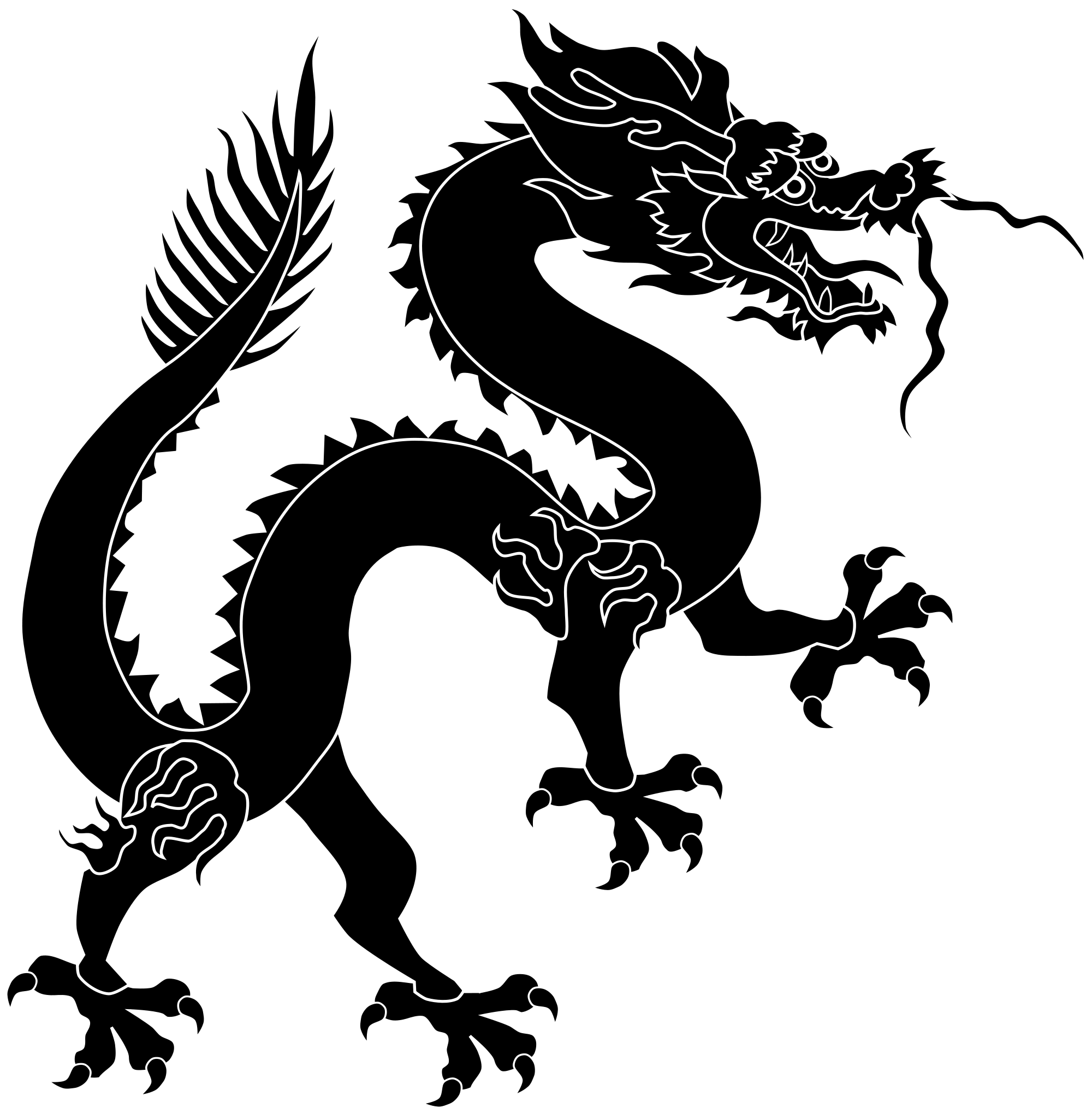 Silhouette pencil and in. Dragon clipart dragon chinese