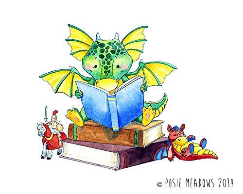 Amazon com the book. Dragon clipart reading