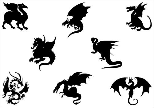 Dragon clipart small dragon. Free silhouette download clip