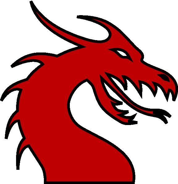 Dragon clipart renaissance. Head silhouette red clip