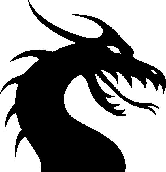Dragon clipart medieval. Head silhouette clip art