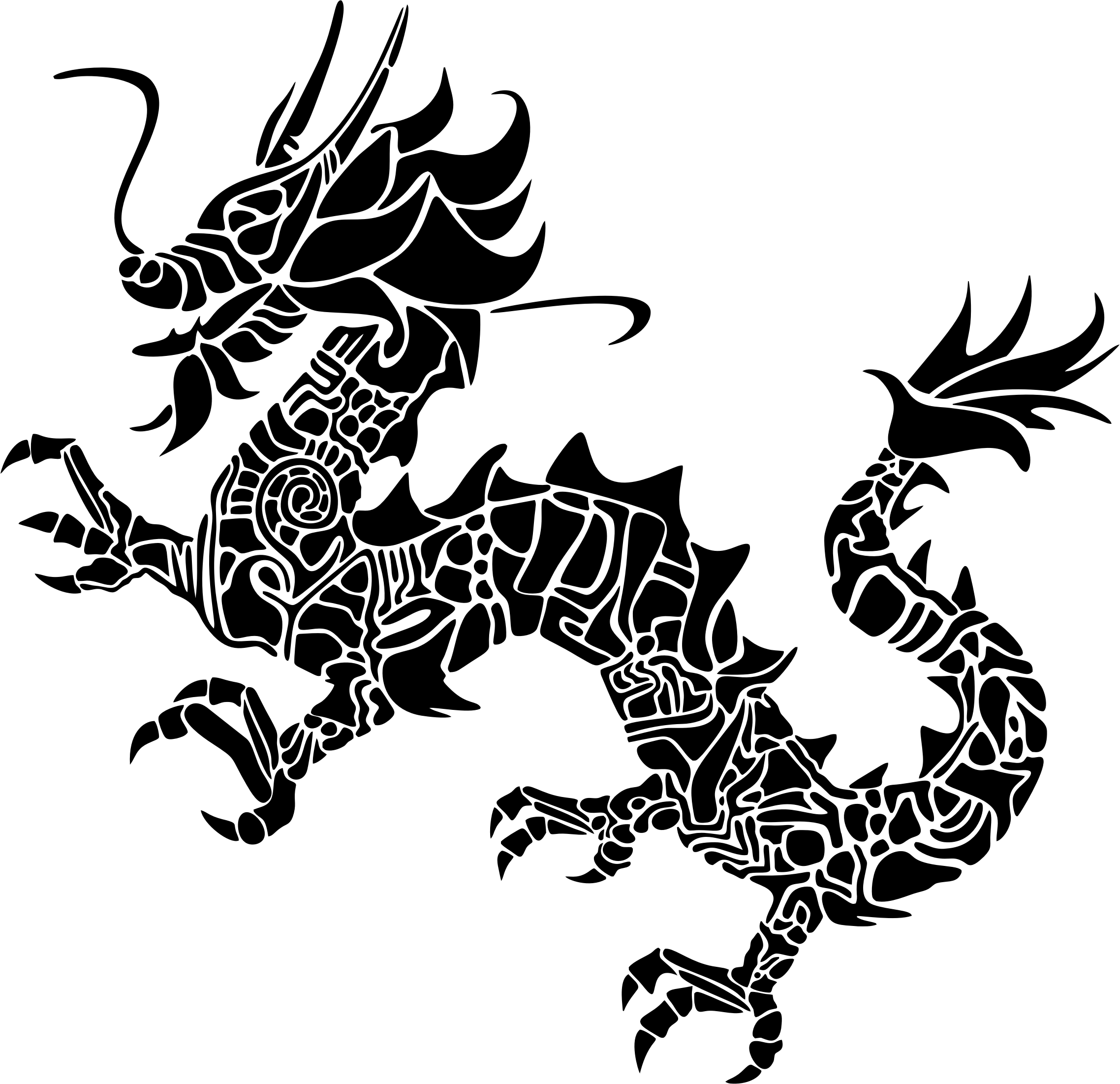 Tribal asian silhouette big. Clipart dragon stencil
