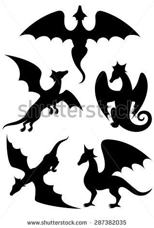 Vector set of silhouettes. Clipart dragon stencil