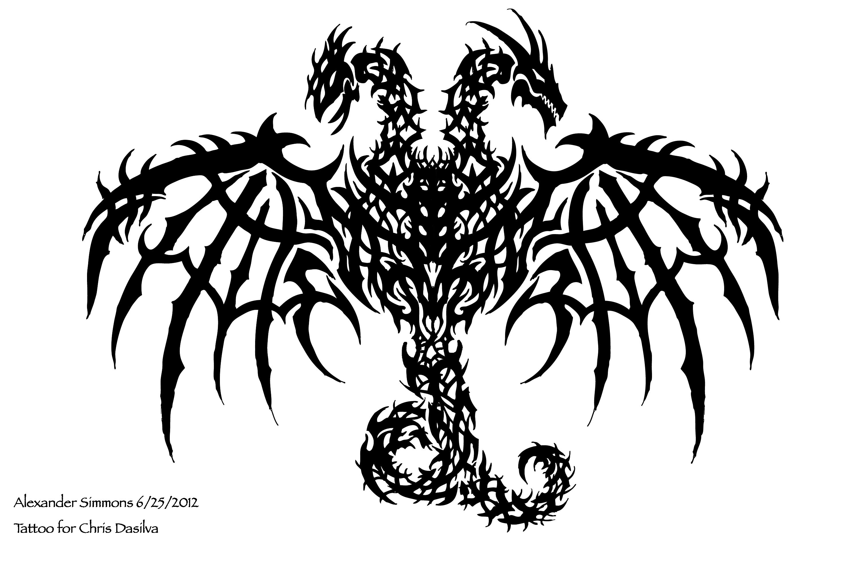 Dragon clipart two headed. Tattoo for chris dasilva