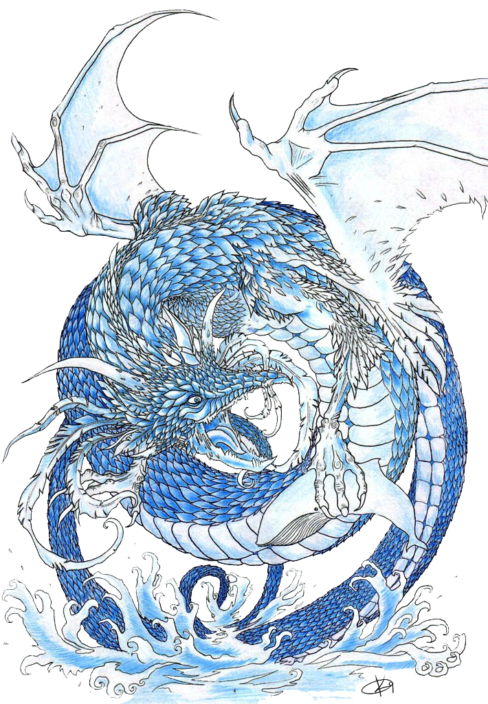 Clipart dragon water dragon. With tribal and dolphin