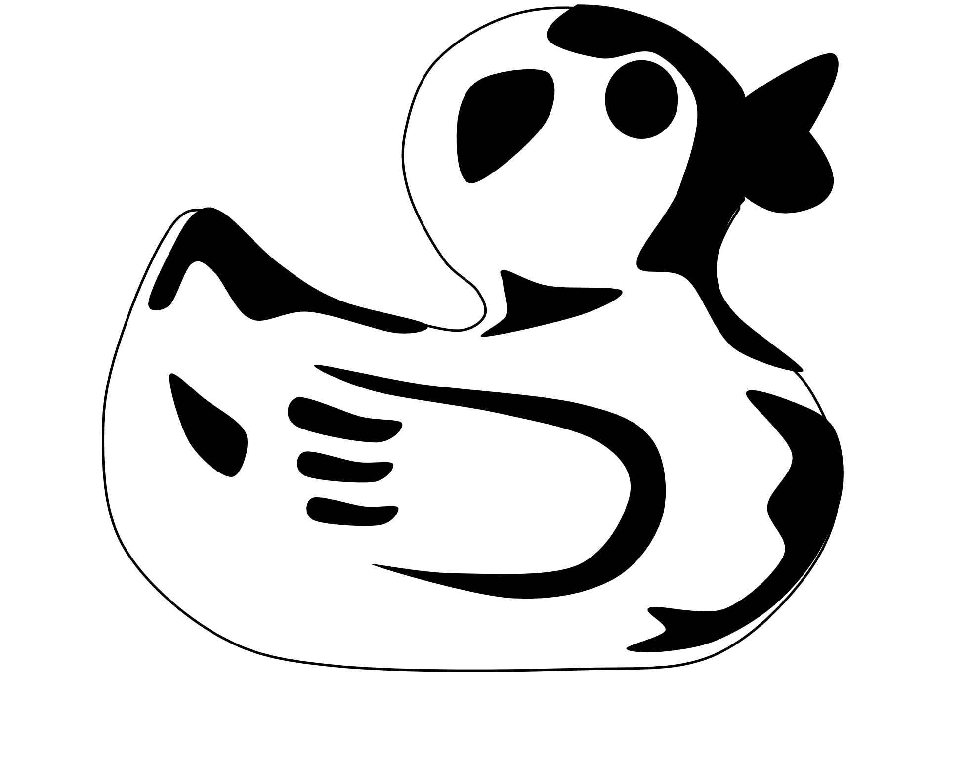 Coloring clipart duck. Black and white panda