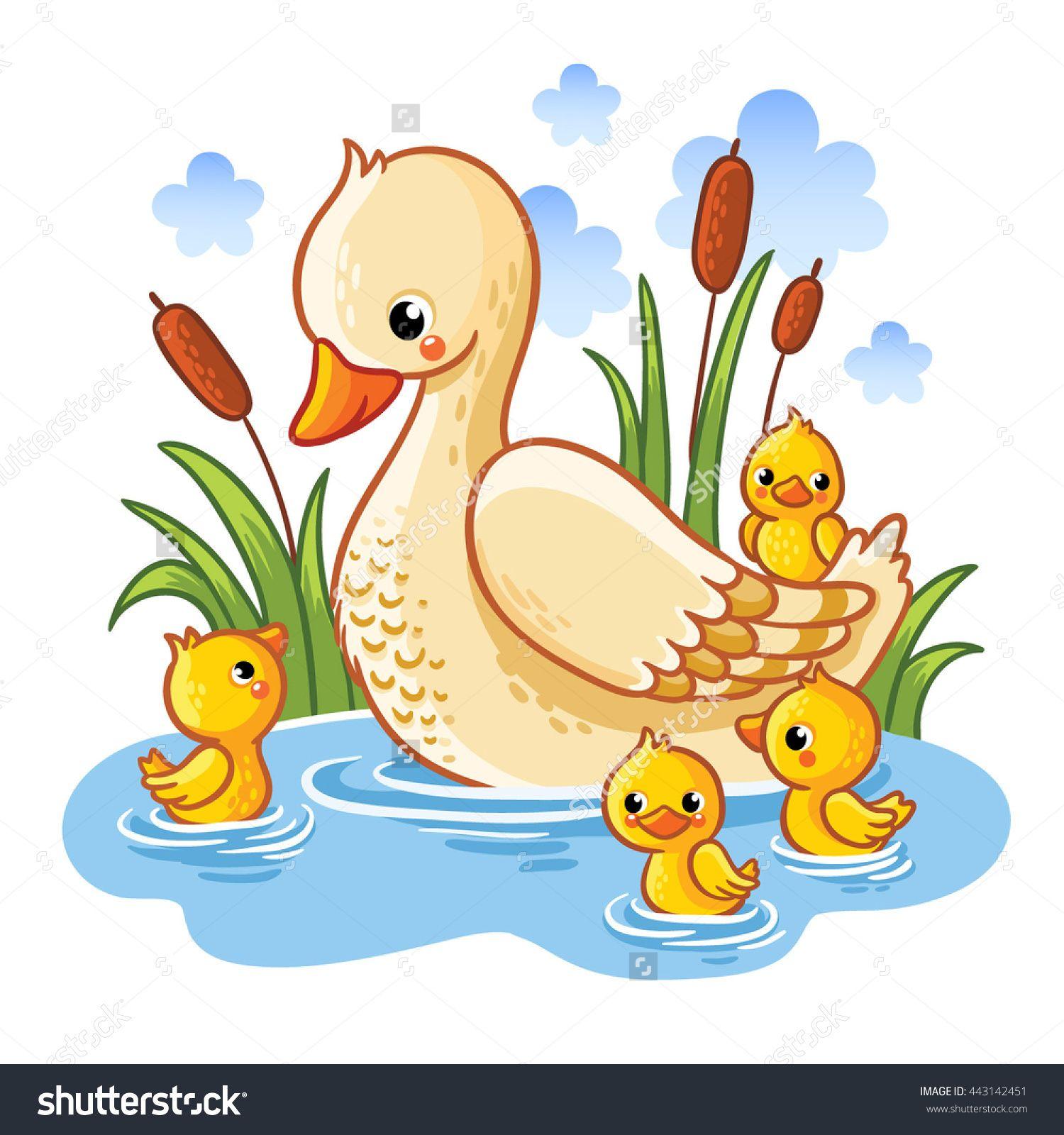 Vector illustration of a. Ducks clipart momma duck