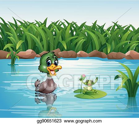 Frog clipart duck. Vector art cartoon with
