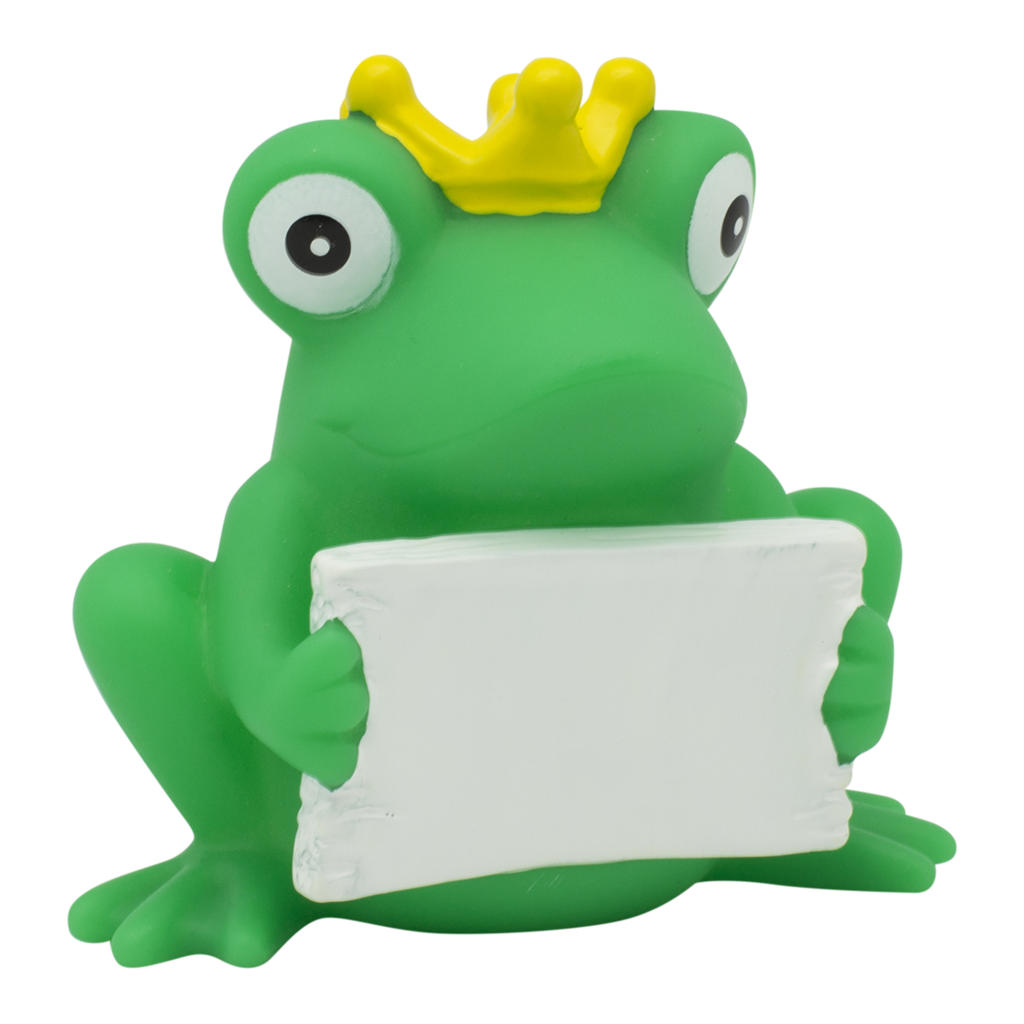 Frog clipart duck. Rubber with greeting sign