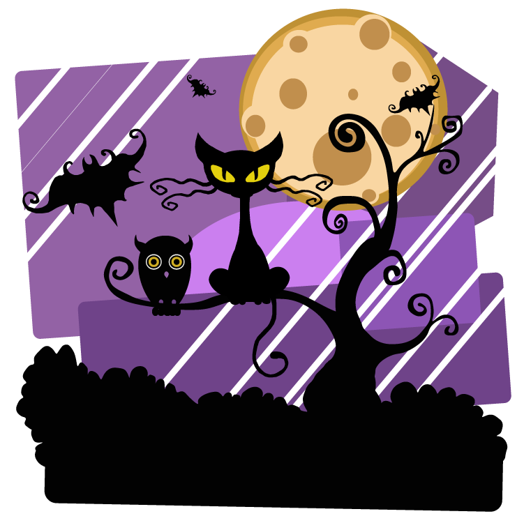 Halloween clipart night. Free scene pages of