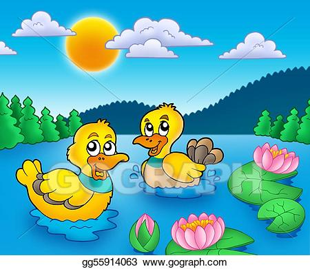 Stock illustration two and. Ducks clipart water clipart