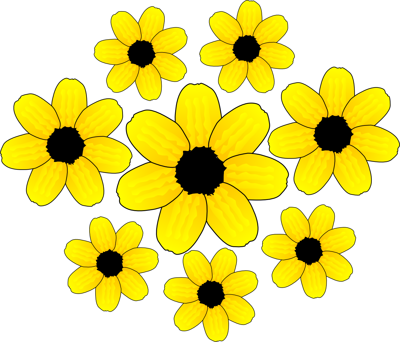 Clipart flower yellow. Flowers accents graphics the