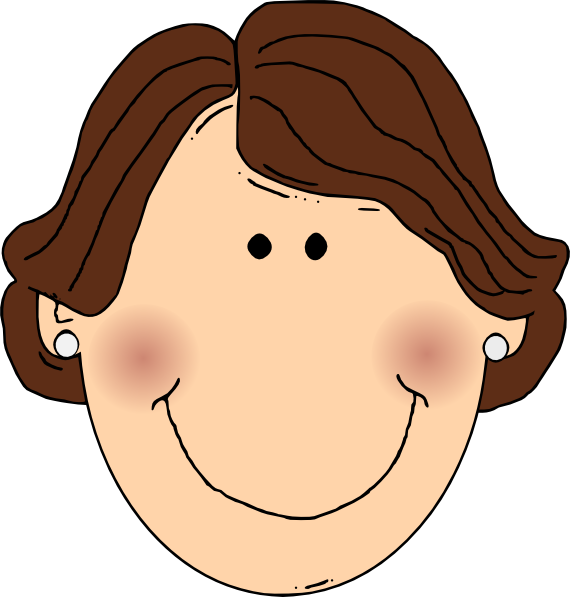 Smiling brown hair lady. Clipart ear earring clipart