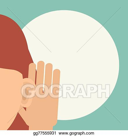 Vector illustration woman holds. Clipart ear hand