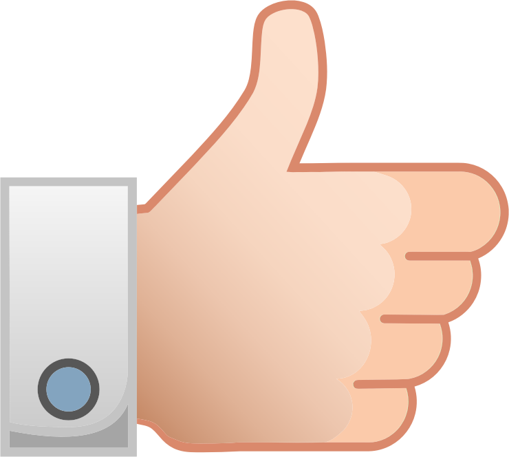 Thumbs up like medium. Clipart ear hand