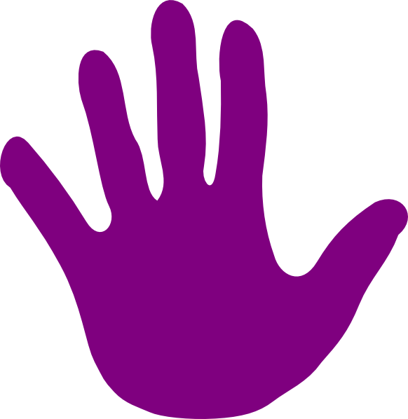 Handprint clipart left. Hand purple clip art