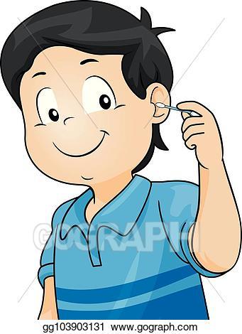 Clipart ear hygiene. Vector art kid boy