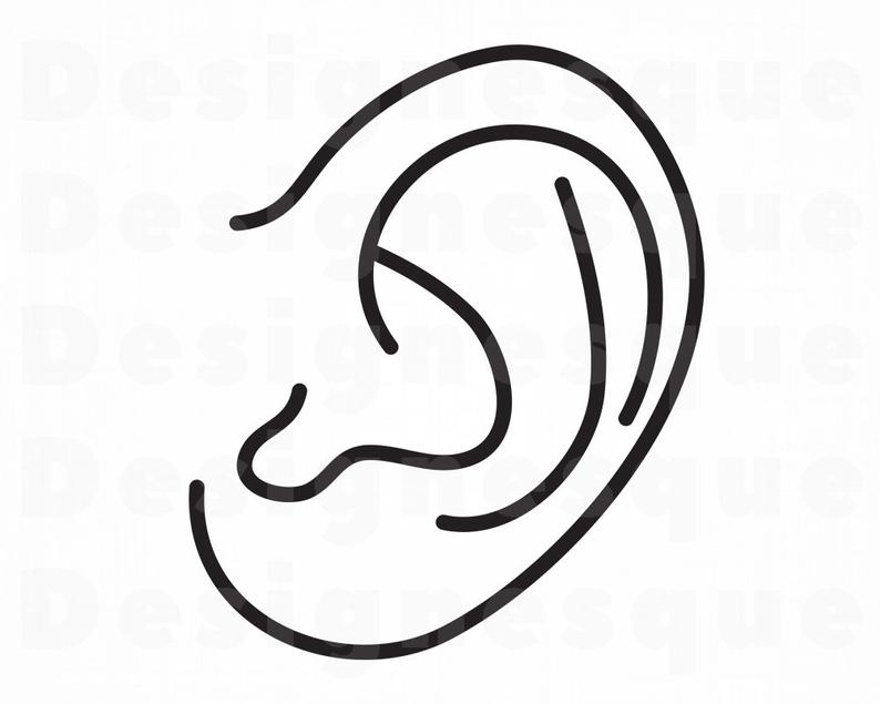 Ear clipart silhouette. Outline svg hearing files