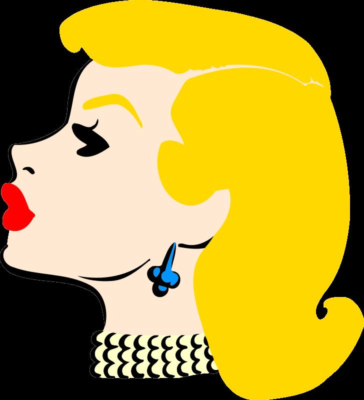Clipart ear part head. Lady s in profile