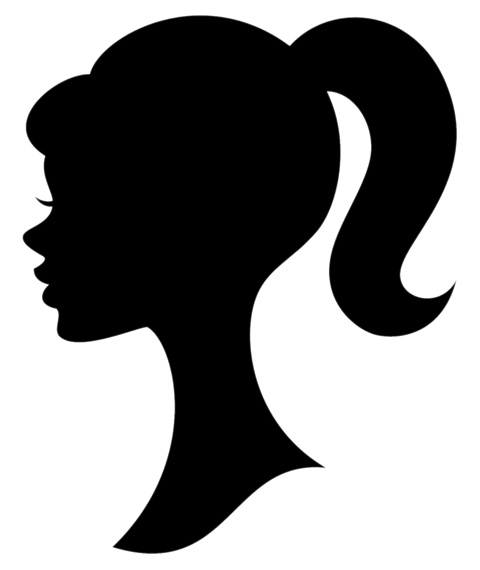 Of girl with ponytail. Silhouette clipart cheerleader