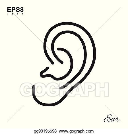 Eps vector human icon. Clipart ear simple