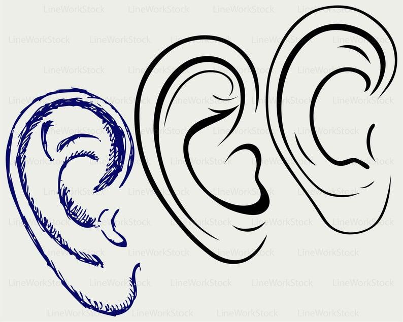 Clipart ear svg. Human silhouette cricut cut