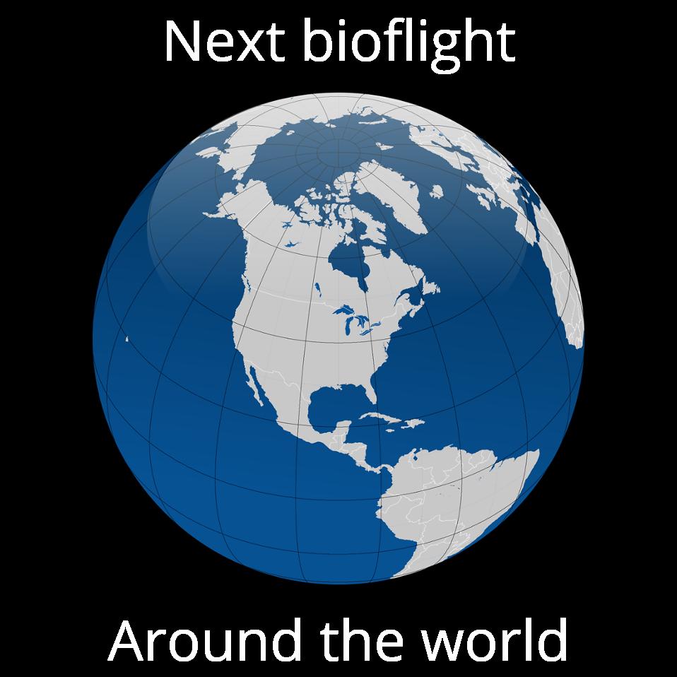 Bioplane announcemnet. Flying clipart globe