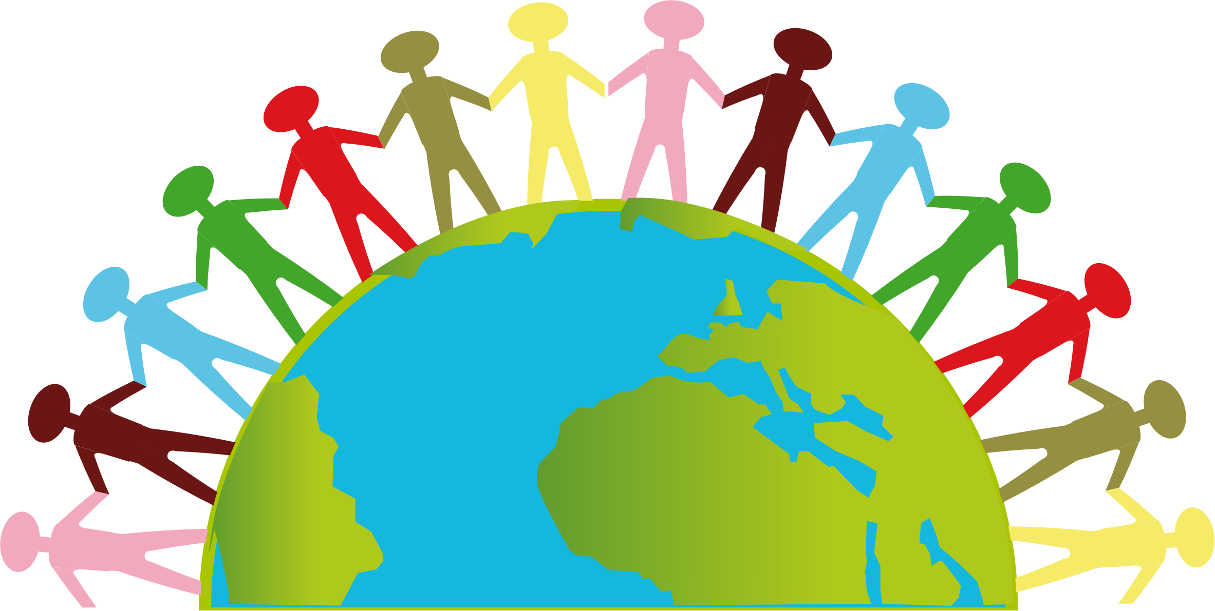 United on earth icons. Globe clipart person