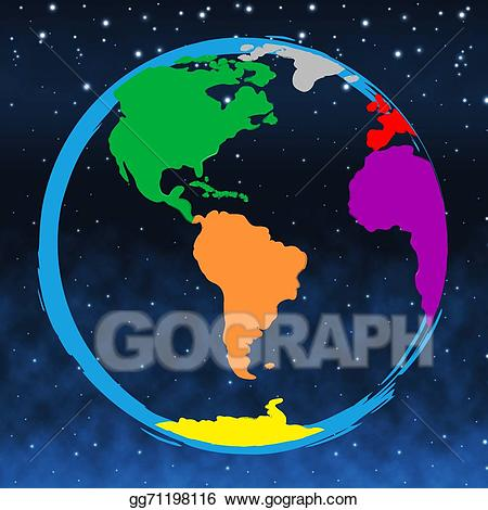 Drawing world represents colours. Clipart earth colourful