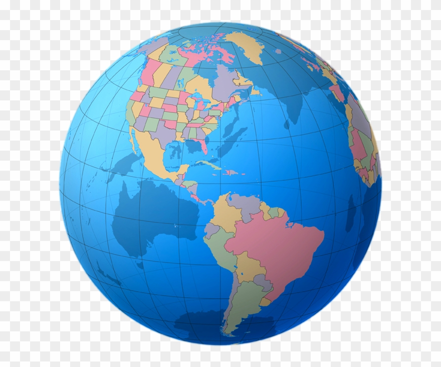 Globe world map hd. Clipart earth colourful