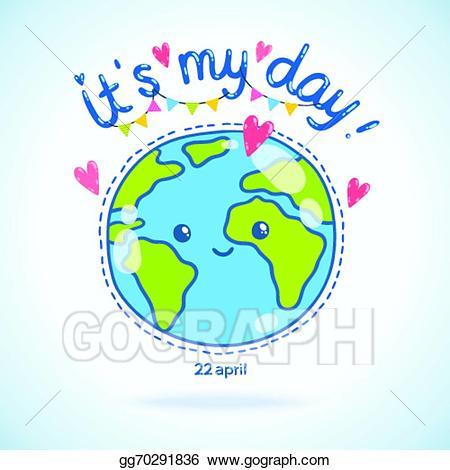 Vector cartoon globe day. Earth clipart cute