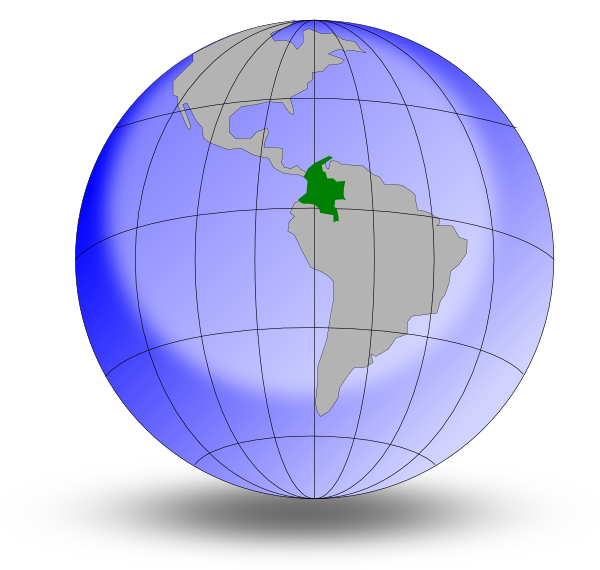 Colombia on the globe. Planet clipart diagram